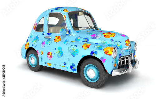 Staande foto Cartoon cars Blue cartoon car with flower print
