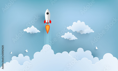 Stampa su Tela rocket illustration flying over cloud