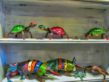Colorful Sculpture Of Turtle And Armadillo- Recycled Scrap Metal Yard Art. Beautiful Decorative Souvenirs In Texas.