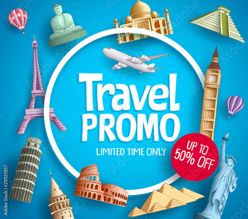 Travel promo vector banner promotion design with tourist