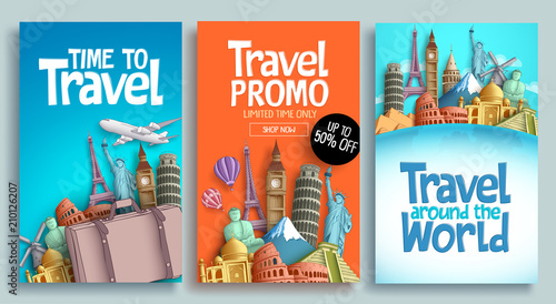 Obraz Travel poster set vector template design with promo text and world's famous landmarks and tourist destinations elements in colorful background. Vector illustration.  - fototapety do salonu