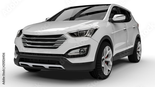 Obraz White premium city crossover on a white background. 3d rendering. - fototapety do salonu