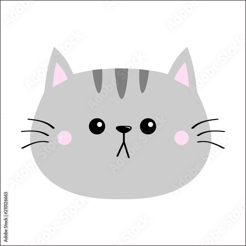 Image of: Vector Image Cute Cartoon Kitty Character Kawaii Animal Funny Baby Kitten With Eyes Mustaches Love Greeting Card Flat Design White Background Isolated Adobe Stock Gray Cat Sad Head Face Silhouette Icon Cute Cartoon Kitty Character