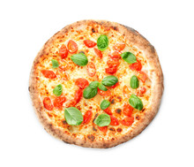 Delicious Pizza On White Backg...