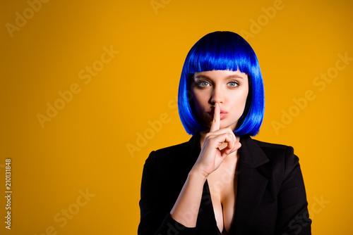 Fotografie, Obraz  Shh! Portrait with copy space empty place for advertisement of mysterious charmi