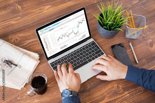 Fotografie, Obraz  Man trading digital currencies online on laptop computer.