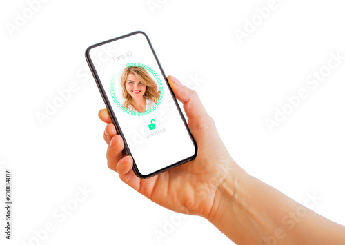Photo  Facial recognition technology on mobile phone.