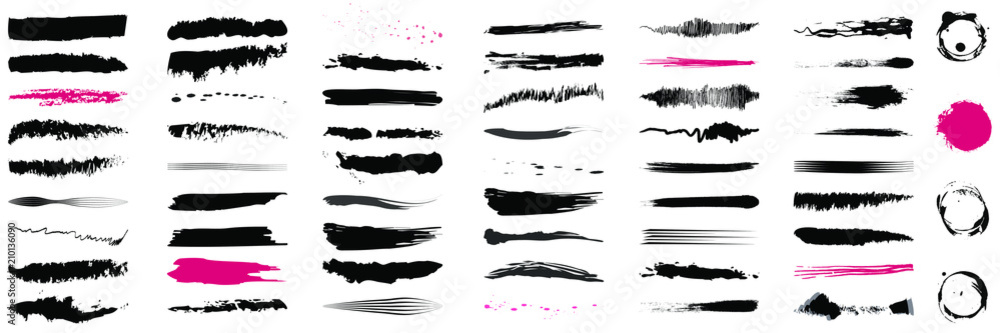 Fototapety, obrazy: Brush Set, Brush Strokes