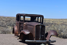 Classic Rusted Out Car On Route 66 In Arizona