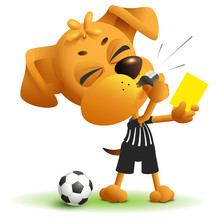 Referee Dog Shows Yellow Card....