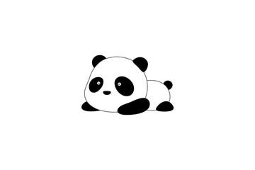 Fototapeta Panda Vector Illustration / Logo Design - Cute funny cartoon giant panda bear lies on its stomach on the ground