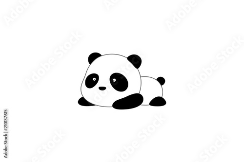 Photo  Vector Illustration / Logo Design - Cute funny cartoon giant panda bear lies on