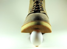 White Egg Under The Sole Of A ...