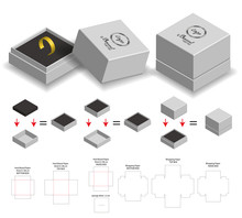 Rigid Box For Ring Product Mockup With Dieline