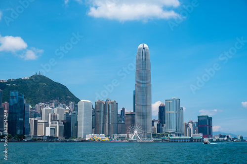 In de dag Stad gebouw Hong Kong skyline in Victoria Harbour