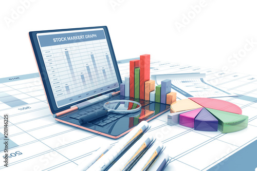 Photo Economical stock market graph and chart