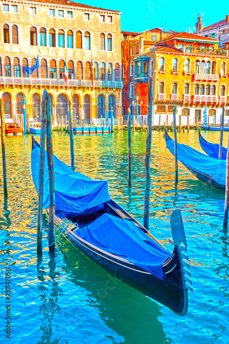 Papiers peints Gondoles The Grand Canal in Venice with moored gondolas