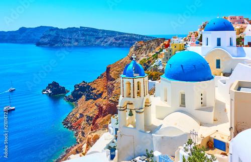 Poster Bleu Oia town in Santorini