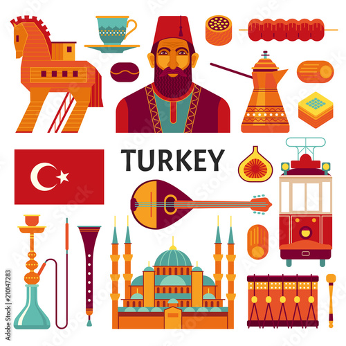 Turkey icons collection  Vector illustration of Turkish culture and