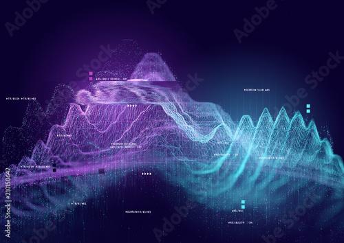 Photo  Big data and tracking information, 3D visualization illustration