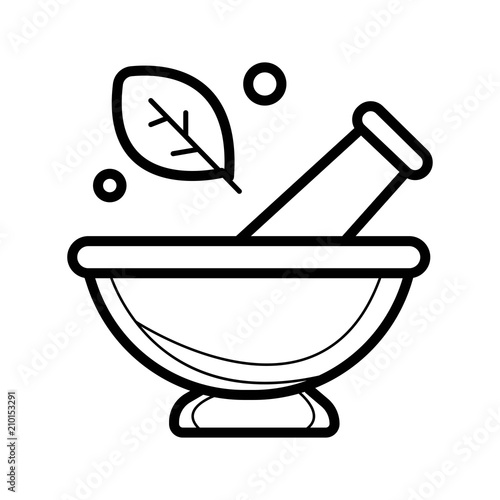 Fotografia Mortar and pestle pharmacy icon