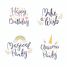 Set Of Hand Written Happy Birthday Lettering Quotes, With Hearts, Stars, Angel Wings And Rainbow. Isolated Objects On White Background. Vector Illustration. Design Concept Invitation, Greeting Card.