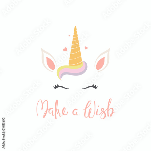 Printed kitchen splashbacks Illustrations Hand drawn vector illustration of a cute funny unicorn face cake decoration with lettering quote Make a wish. Isolated objects on white background. Flat style design. Concept for children print.