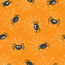 Seamless Pattern With Cute Spi...