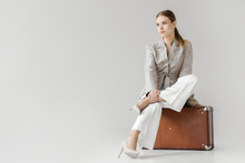 Stylish Woman In Linen Jacket ...