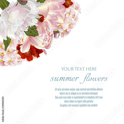 template for greeting cards wedding decorations sales vector floral corner banner with summer flowers spring or summer design buy this stock vector and explore similar vectors at adobe stock adobe stock template for greeting cards wedding