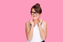 Exchited Funny Brunette Girl Isolated On Pink