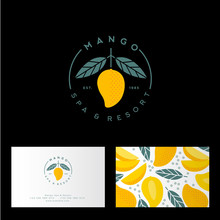 Mango Spa, Resort Or Hotel Logo. Mango Emblem With Leaves. Identity, Business Card With Mango Pattern.