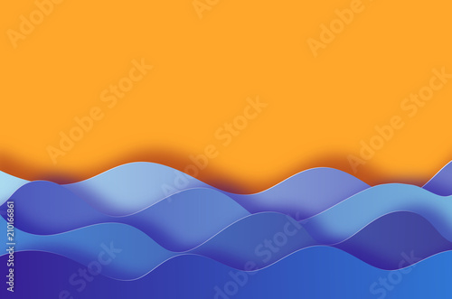 Modern paper cut background with sea waves