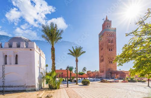 Poster Maroc Koutoubia Mosque minaret at Medina quarter of Marrakesh, Morocco