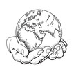 Two palms hold the globe. Environment concept. Vector.