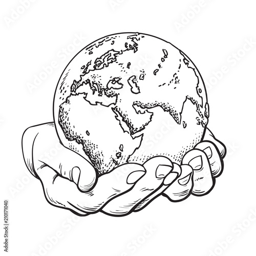 Fotografía  Two palms hold the globe. Environment concept. Vector.