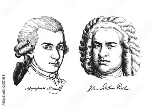 Fotomural  Wolfgang Amadeus Mozart and Johann Sebastian Bach. Vector.