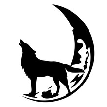 Howling Wolf And Crescent Moon Black And White Vector Design