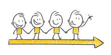 Strichfiguren / Strichmännchen: Business, Team, Richtung. (Nr. 250)