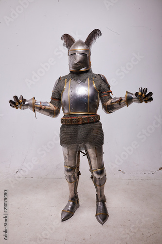 Foto Knight in armor on white background