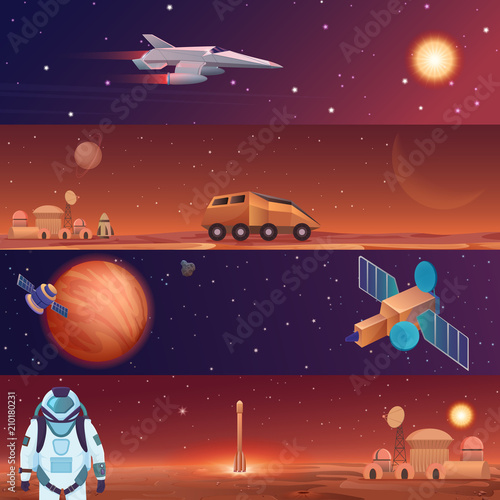 Vector illustration banners of space flight spaceships exploration Tapéta, Fotótapéta