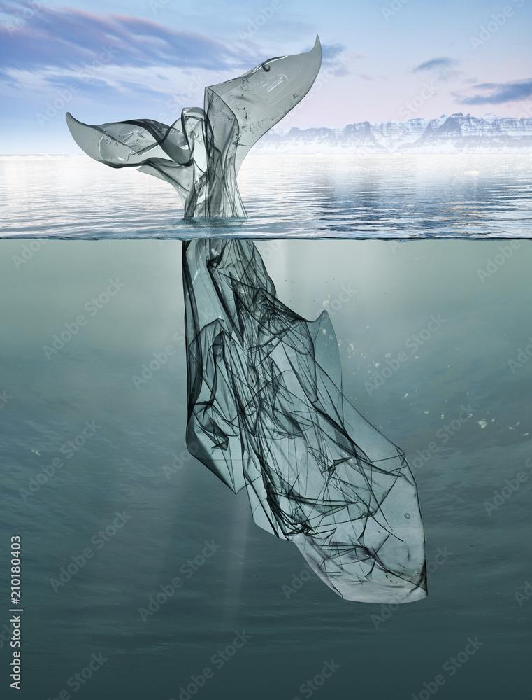 Fototapeta a whale of garbage plastic floating in the ocean.