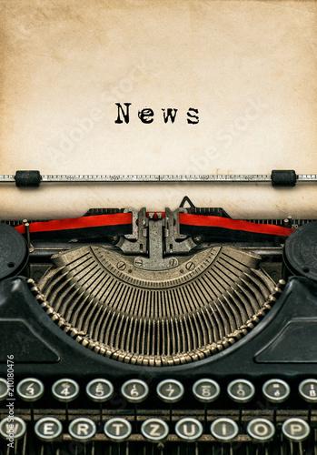 Deurstickers Retro Antique typewriter aged textured paper sheet News