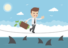 Cartoon Vector Businessman TightRope Walking Over Sharks