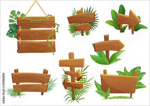 Fototapeta Jungle rainforest wood sign with tropical leaves with space for text. Cartoon game vector illustration. obraz
