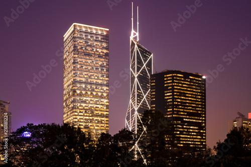 In de dag Hong-Kong skyscrapers at Chung Wan (central district), Hong Kong Island, Hong Kong, China, Asia