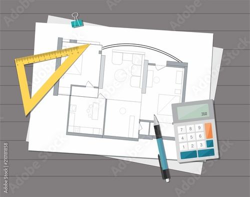Workplace Technical Project Architect House Plan Blueprint