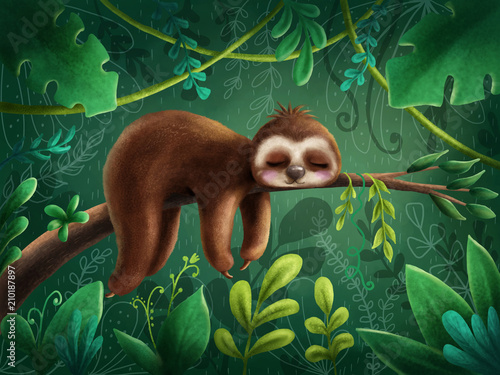 Cute sloth Wallpaper Mural