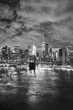 Black and white picture of New York cityscape at night, USA.