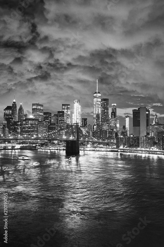 Staande foto New York City Black and white picture of New York cityscape at night, USA.